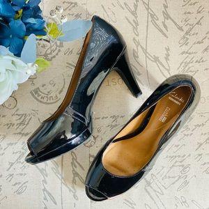 Clarks Narine Rowe Soft High-Heel Patent Pumps